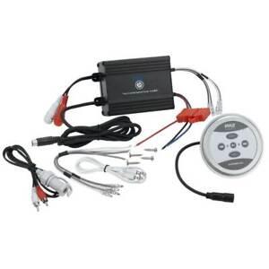NEW Pyle PLMRMBT5B 2 Channel Marine Bluetooth Boat ATV Amplifier + Controller
