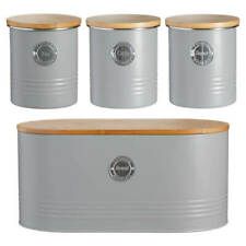 Stylish Typhoon Living Tea Coffee Sugar & Bread Bin Caddy Storage Set - Grey