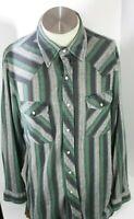 Vintage Wrangler Pearl Snap Long Sleeve Shirt Plaid Western Mens L gray green