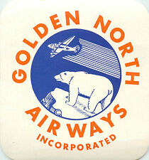 Golden North Airways ~SEATTLE to ALASKA~ Great Polar Bear Luggage Label, c. 1950