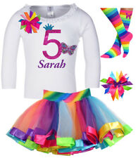 Girls 5th Birthday Outfit Butterfly Shirt Rainbow Tutu Add Name Pink 5