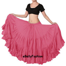 Hot Pink Skirt 25 Yard 4 Tiered Cotton Gypsy Tribal Belly Dance Flamenco Jupe