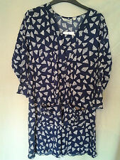 Adini 100% crushed polygeorgette  tunic 3/4 sleeves v neck 2 front pockets XS
