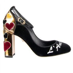 Dolce & Gabbana Velvet Ankle Straps Hearts Court Shoes Vally L'Amore Black Gold