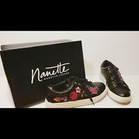 Black Shoes Sneakers Embroidered Butterfly Nanette Lepore WILDFLOWER Used w/Box