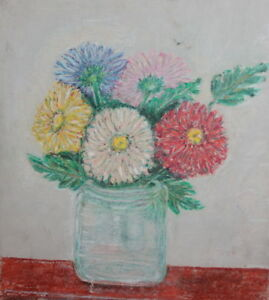 Expressionist landscape vintage pastel painting