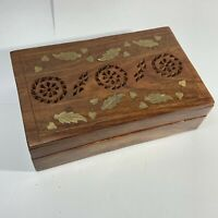 """HANDCRAFTED INDIA Carved Wood TRINKET JEWELRY BOX Brass Inlay LEAVES Pierced 8"""""""
