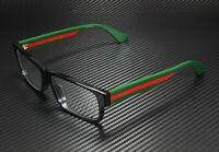 GUCCI GG0344Oa 001 Rectangular Square Black Demo Lens 56 mm Men's Eyeglasses