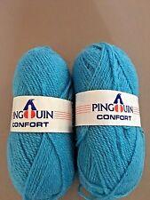 2 SKEINS -  PINGOUIN CONFORT - WORSTED WT- WOOL BLEND YARN CLR 189 - LIGHT  BLUE