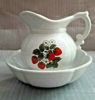 McCoy Pottery Strawberries 7528 White Pitcher and Bowl Wash Basin Set USA