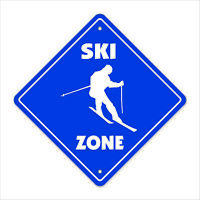 Ski Crossing Decal Zone Xing Tall water snow skier skiing skis sport lover