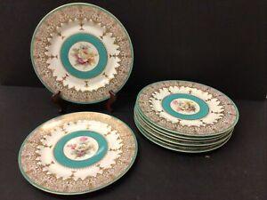 """8 Antique ROYAL BAYREUTH Porcelain DINNER Charger 10.75"""" Cabinet PLATES FLORAL"""