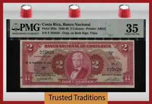 TT PK 203a 1946-49 COSTA RICA BANCO NACIONAL 2 COLONES PMG 35 CHOICE VERY FINE!
