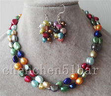 cultured 8-9mm rainbow mixed color fresh water pearl necklace 33 inch earrings