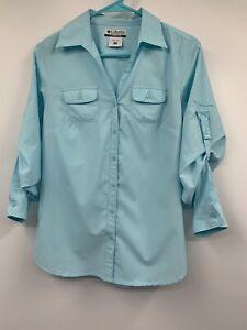 Columbia Women's Omni Shade Light Green 3/4 Sleeve Shirt Pockets Small