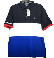 Polo Ralph Lauren Men's Classic Fit Mesh BLUE MULTI BLOCK Polo Shirt NEW