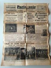 JOURNAL PARIS SOIR 1 JANVIER 1936 LINDBERGH SA FEMME ET SON FILS A LIVERPOOL