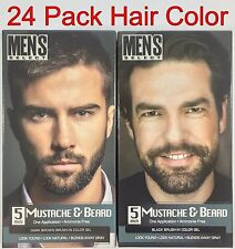 24pck Men's Select Mustache and Beard Hair Color Dye Black & Dark Brown 5 minute