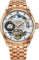 Stuhrling Men's Skeleton Rose Case Silver Dial Rose Bracelet Dual Time Watch