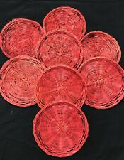 "8 Red Wicker Rattan Paper Plate Holders Woven 9"" Picnic Party July 4th Camping"