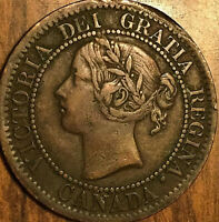 1859 CANADA LARGE CENT PENNY LARGE 1 CENT COIN - Nicer grade (but rim issues)