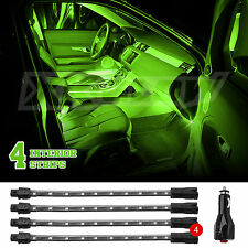 "GREEN 4pcs 9"" LED UNDER GLOW INTERIOR CABIN ACCENT NEON LIGHT 3 PATTERN 36 LED"