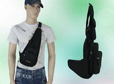 Herren Tasche Schultertasche Brusttasche Segeltuch Schwarz 44 * 32 * 7 cm