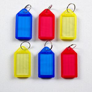 6X Keyring Name Tags Key Fobs Plastic ID Label Keychain Large Luggage Identifier