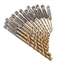 13 X Drill Bit Set Titanium Coated HSS High Speed Steel Hex Shank Quick Change E