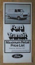 FORD TRANSIT orig 1977 UK Mkt Retail Price List Brochure