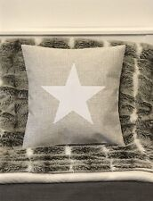 New Cream Weave Fabric Cushion Cover White Star Rustic Farmhouse Contemporary