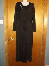 M&S L/Sleeved Metallic Effect Longer Length Wrap Dress 14 Copper BNWT