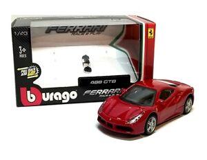 FERRARI 488 GTB in Red - 1:43 Scale Die-cast Sports Car Model by Burago - New