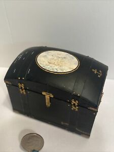 Vintage Hand Painted Nautical Domed Trunk Dollhouse Miniature 1:12