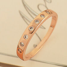 Fashion Rose Gold Filled Clear Zircon Womens Wedding Love Ring,Size 6 lot