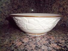Large Glass Bowl by Lenox China Serving Dish Fruits Of Life Sculpture Gold Trim
