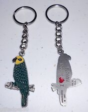 I Love Amazon Parrots Painted Pewter Key Chain