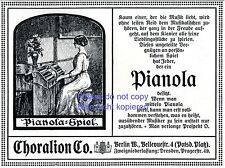 Klavier Pianola Choralion Berlin Reklame 1910 Pianistin selbstspielendes Piano +