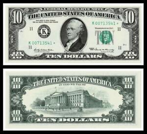 1969* $10 DOLLAR BILL FRN ~**STAR NOTE**GREEN SEAL~CRISP ~ UNCIRCULATED