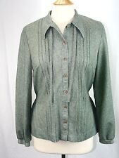 Vintage Custom Tailored Nardis of Dallas Tailored  Blouse Mottled Green Small