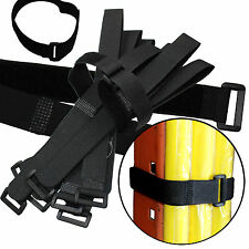 "Durable 10 Hook and Loop Reusable Cable Tie Down Straps Kit 20 inch x 1"" Black"