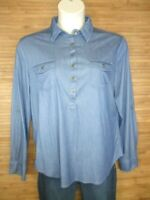Eden & Olivia Blue Long Sleeve Blouse Womens Size XL EUC
