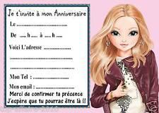 5 cartes invitations anniversaire  Top Model 02