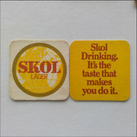 Skol Lager Drinking It's the taste that makes you do it 2 x Coaster (B353)