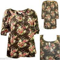 NEW Ladies Olive Green Long Floral Chiffon Tie Neck Casual Tunic Top Size 14- 22