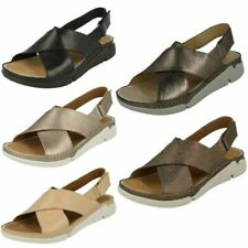 Ladies Clarks Casual Open Toe Hook & Loop Leather Summer Sandals Tri Alexia