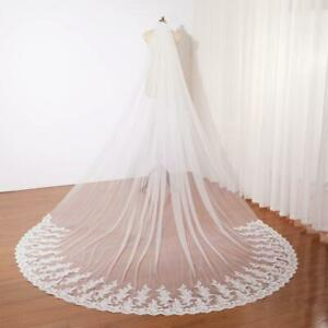 3m Lace Appliques Bridal Wedding Veils with Comb Accessories for Bride Cathedral
