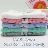 Baby Girl Boy Soft Blanket Cellular Blankets for Pram Cot Travel Bed 70x90cm UK