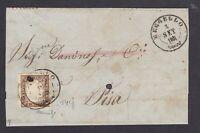 Sardegna 10 c. 14cf su lettera 1861 da Reggello a Pisa annullo raro  cv 3450 €