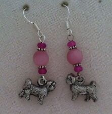 Shih Tzu Dog Pewter Charm Handmade Earrings Matte Pink Beads Dk Pink Accents SP